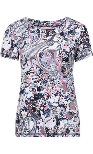Anna Rose Eyelet Trim Print Top Pink/Blue
