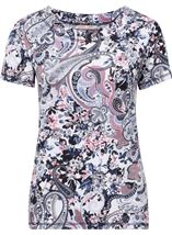 Anna Rose Eyelet Trim Print Top Pink/Blue - Gallery Image 1