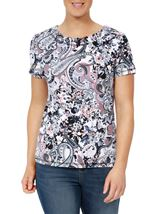 Anna Rose Eyelet Trim Print Top Pink/Blue - Gallery Image 2