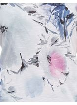 Anna Rose Printed Lace Sleeve Jersey Top White/Pink - Gallery Image 4