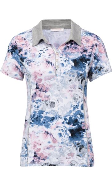 Anna Rose Printed Short Sleeve Jersey Top Pink/Blue