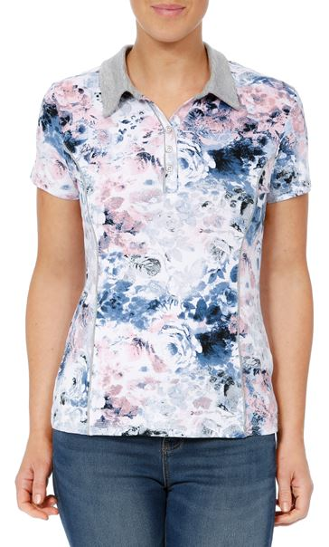 Anna Rose Printed Short Sleeve Jersey Top Pink/Blue - Gallery Image 2