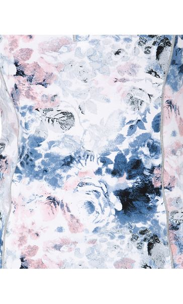 Anna Rose Printed Short Sleeve Jersey Top Pink/Blue - Gallery Image 4