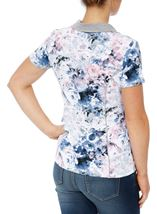 Anna Rose Printed Short Sleeve Jersey Top Pink/Blue - Gallery Image 3
