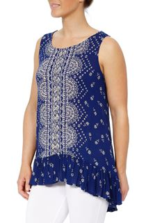Sleeveless Placement Printed Tunic