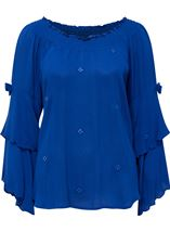 Boho Three Quarter Bell Sleeve Smocked Top Cobalt - Gallery Image 1