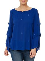 Boho Three Quarter Bell Sleeve Smocked Top Cobalt - Gallery Image 2