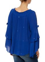 Boho Three Quarter Bell Sleeve Smocked Top Cobalt - Gallery Image 3