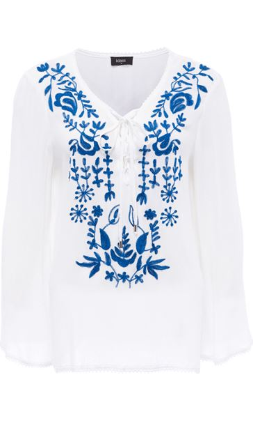Long Sleeve Embroidered Boho Top White/Cobalt