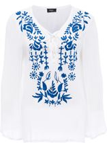 Long Sleeve Embroidered Boho Top White/Cobalt - Gallery Image 1