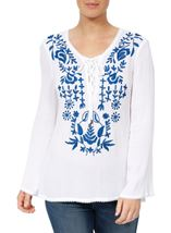 Long Sleeve Embroidered Boho Top White/Cobalt - Gallery Image 2