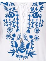 Long Sleeve Embroidered Boho Top White/Cobalt - Gallery Image 4