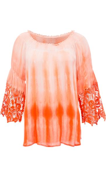 Crochet Trim Dip Dye Smocked Top Tangerine/White