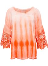 Crochet Trim Dip Dye Smocked Top Tangerine/White - Gallery Image 1