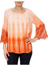 Crochet Trim Dip Dye Smocked Top Tangerine/White - Gallery Image 2