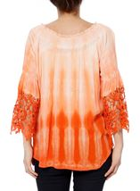 Crochet Trim Dip Dye Smocked Top Tangerine/White - Gallery Image 3