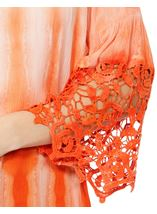 Crochet Trim Dip Dye Smocked Top Tangerine/White - Gallery Image 4