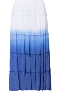 Ombre Layered Pull On Maxi Skirt - Blue