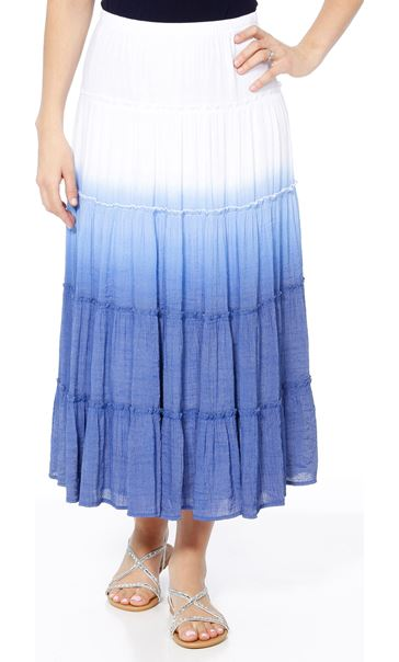 Ombre Layered Pull On Maxi Skirt Blue - Gallery Image 2
