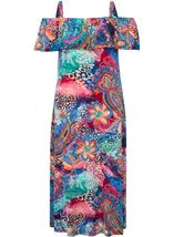 Printed Cold Shoulder Jersey Dress Orange/Cobalt - Gallery Image 1