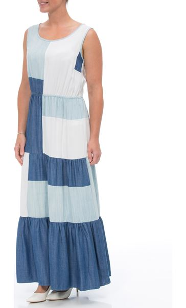 Sleeveless Colour block Maxi Dress Denim/Ivory