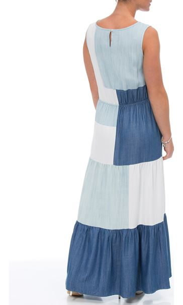Sleeveless Colour block Maxi Dress Denim/Ivory - Gallery Image 2