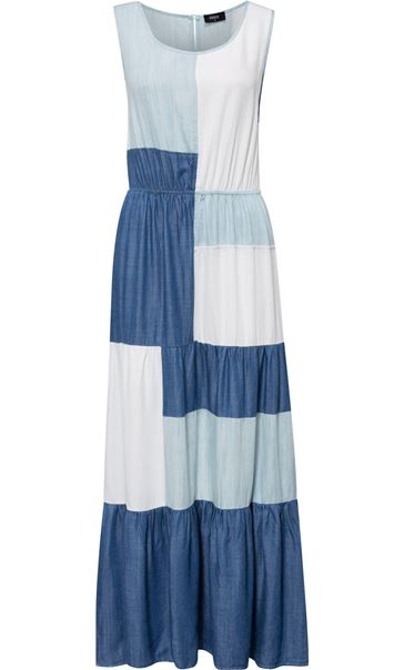 Sleeveless Colour block Maxi Dress Denim/Ivory - Gallery Image 4