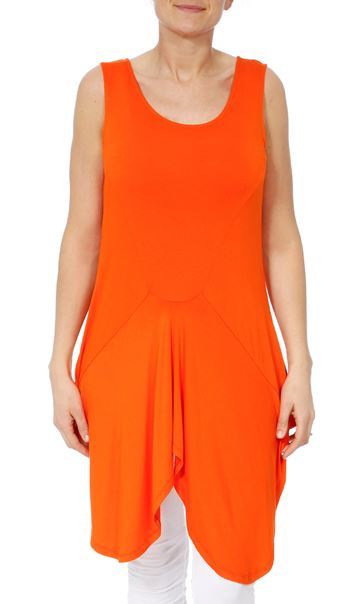 Dipped Hem Sleeveless Jersey Tunic