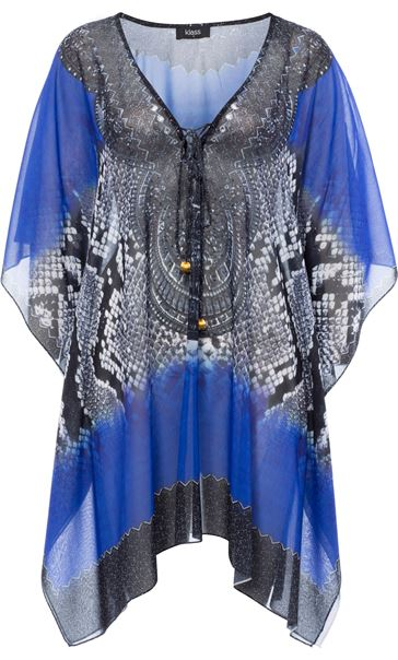 Printed Embellished Cover Up Cobalt/Black
