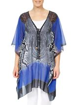 Printed Embellished Cover Up Cobalt/Black - Gallery Image 2