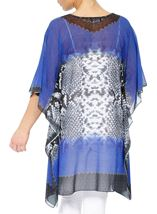 Printed Embellished Cover Up Cobalt/Black - Gallery Image 3