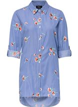 Stripe And Embroidered Blouse Blue/White - Gallery Image 2