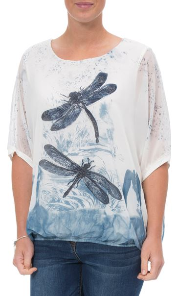b052153a8c912 ... Embellished Dragonfly Print Chiffon Top Ivory Blue - Gallery Image 2 ...