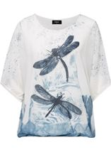 Embellished Dragonfly Print Chiffon Top