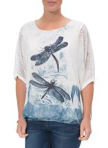 Embellished Dragonfly Print Chiffon Top Ivory/Blue - Gallery Image 2