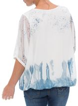 Embellished Dragonfly Print Chiffon Top Ivory/Blue - Gallery Image 3