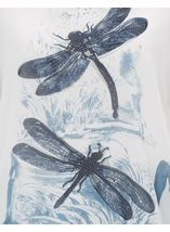 Embellished Dragonfly Print Chiffon Top Ivory/Blue - Gallery Image 4
