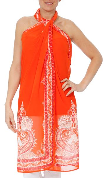 Convertible Georgette Cover Up Tangerine - Gallery Image 7