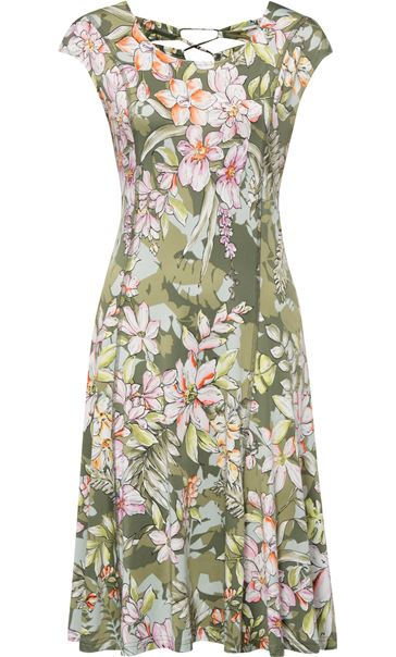 Panelled Floral Midi Dress Sage Green