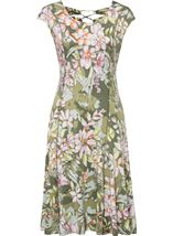 Panelled Floral Midi Dress Sage Green - Gallery Image 1