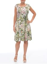 Panelled Floral Midi Dress Sage Green - Gallery Image 2