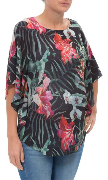 Exotic Floral Printed Georgette Top Black/Multi