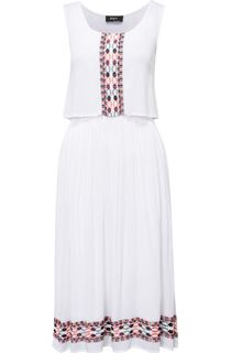 Embroidered Sleeveless Crinkle Midi Dress