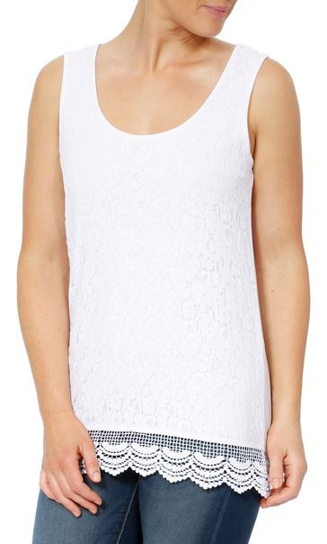 Sleeveless Lace Layered Top White