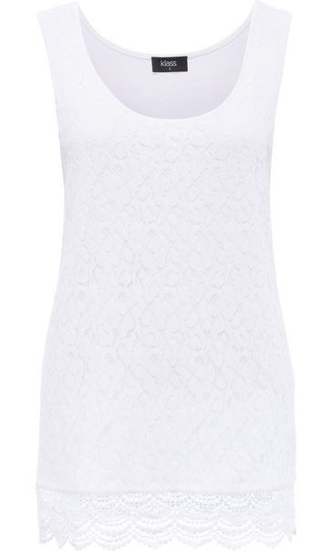 Sleeveless Lace Layered Top White - Gallery Image 3