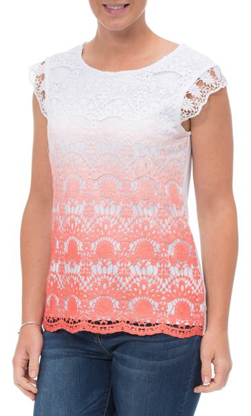 Short Sleeve Crochet Layered Ombre Top Papaya/White - Gallery Image 2