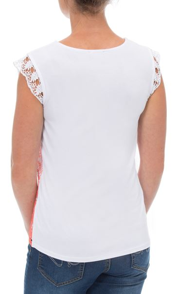 Short Sleeve Crochet Layered Ombre Top Papaya/White - Gallery Image 3