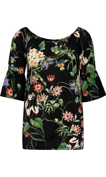 Floral Print Stretch Top Black/Multi - Gallery Image 1