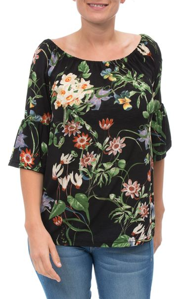 Floral Print Stretch Top Black/Multi - Gallery Image 2