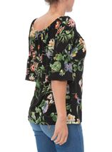 Floral Print Stretch Top Black/Multi - Gallery Image 3